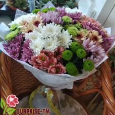 """Букет """"Летний день"""" из 19 разноцветных хризантем (Голландия)"""
